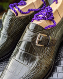 Ascot Andre - Olive Green Alligator - Ascot Shoes