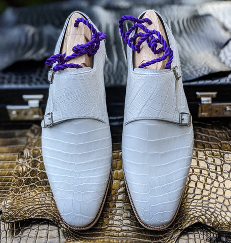 Ascot Double Monk - White Alligator