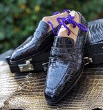 Ascot Penny Loafer - Black Piano Alligator - Ascot Shoes