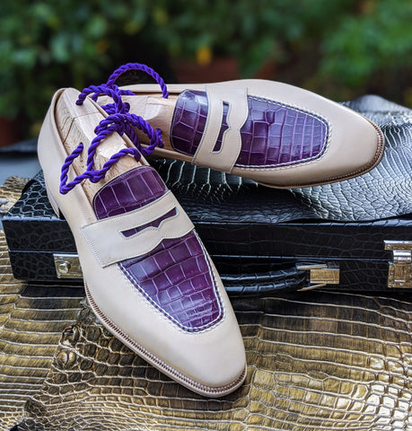 Ascot Sinatra - Cream Crust & Purple Alligator