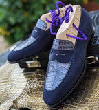 Ascot Sinatra - Navy Suede & Blue Caiman Crocodile - Ascot Shoes