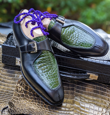Ascot Andre - Green Alligator & Black Calf