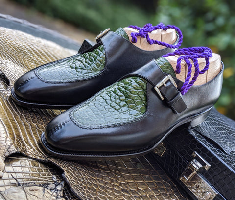 Ascot Andre - Green Crocodile & Black Calf