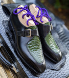 Ascot Andre - Green Crocodile & Black Calf - Ascot Shoes