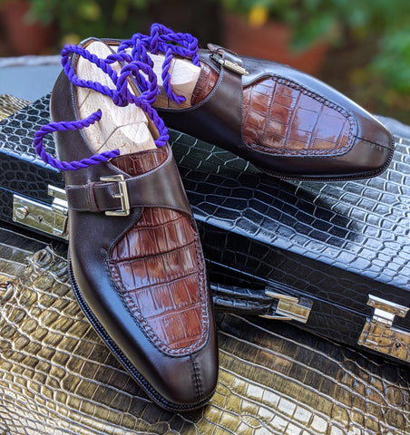 Ascot Andre - Bordeaux Crocodile & Middle Brown Calf