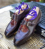 Ascot Andre - Dark Cognac Alligator & Brown Calf - Ascot Shoes