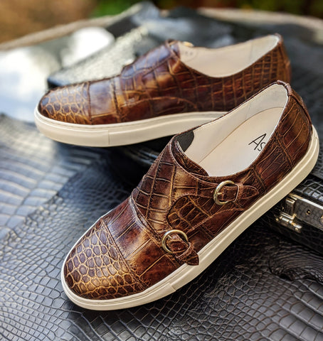 Ascot Double Monk Sneakers - Bronze Alligator