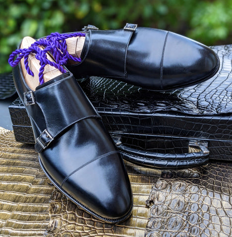Ascot Double Monk - Black Calf