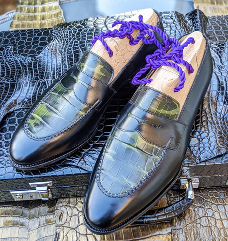 Ascot Sinatra - Camouflage green black crocodile & Black Calf