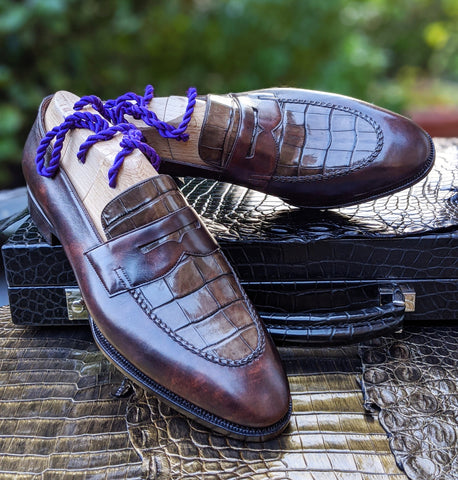 Ascot Sinatra - Caviar Brown Crocodile & Brown Museum Calf