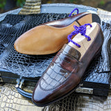 Ascot Sinatra - Caviar Brown Crocodile & Brown Museum Calf - Ascot Shoes