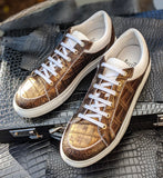 Ascot Sneakers - Deep Gold Alligator - Ascot Shoes