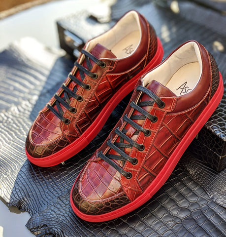 Ascot Sneakers - Burgundy Alligator