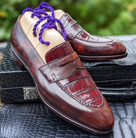 Ascot Sinatra - Bordeaux Alligator & Brown Museum Calf