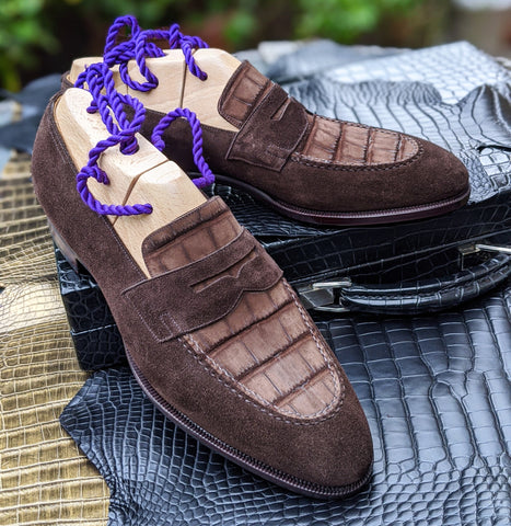 Ascot Sinatra - Brown Suede & Brown Nubuck Alligator