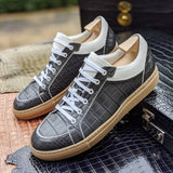 Ascot Sneakers - Caviar Grey Crocodile - Ascot Shoes