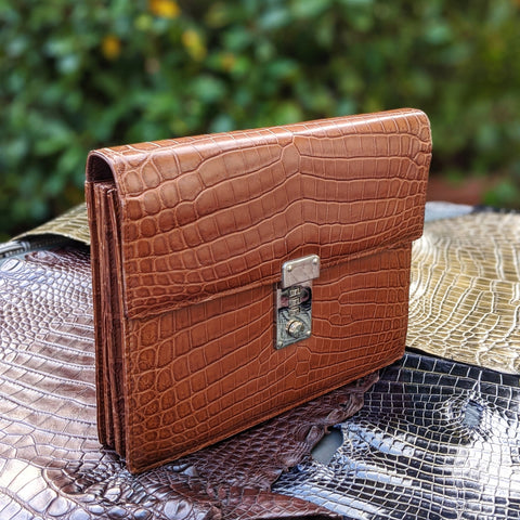 Pouch Bag - Cognac Crocodile