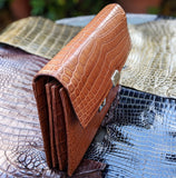 Pouch Bag - Cognac Crocodile - Ascot Shoes