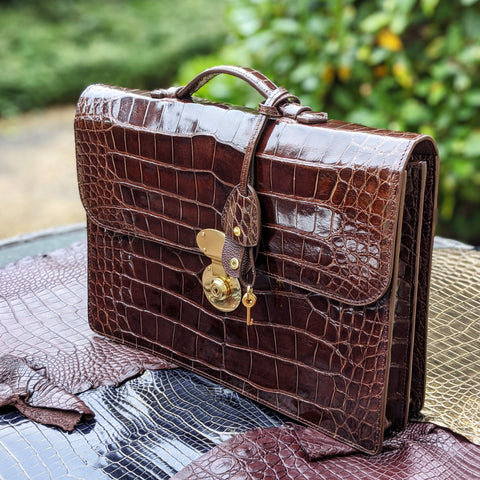 Briefcase - Bourbon Crocodile