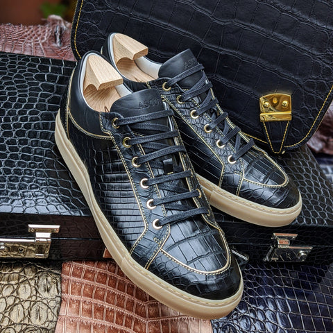 Ascot Sneakers - Black Crocodile