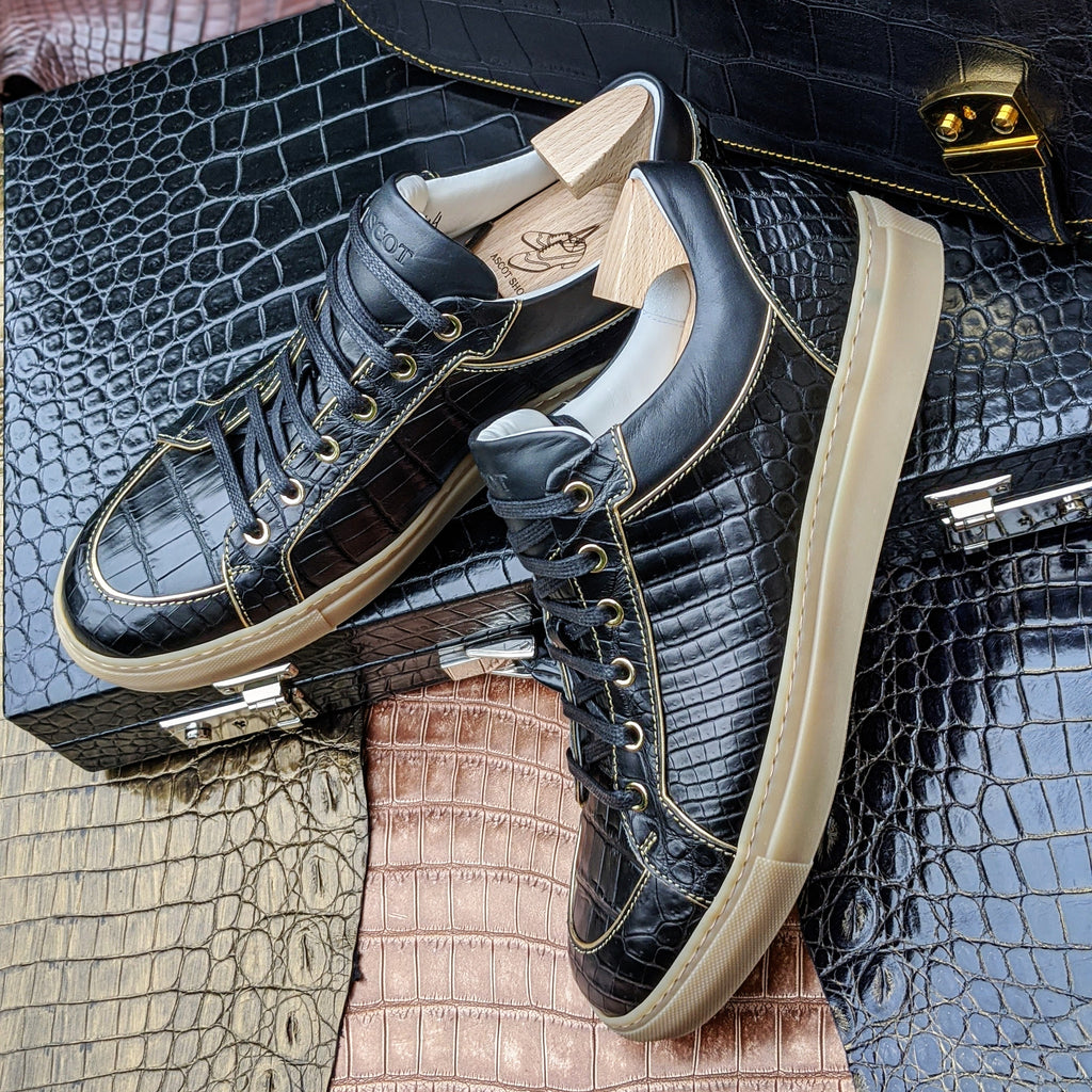 Ascot Sneakers - Black Crocodile - Ascot Shoes