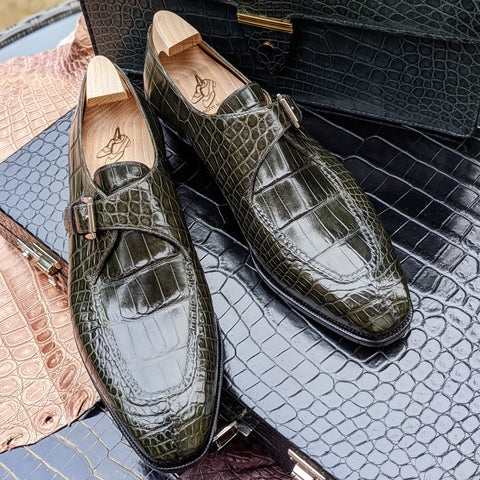 Ascot Andre - Olive Green Alligator