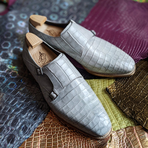 Ascot Double Monk - Light Grey Alligator