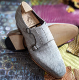 Ascot Double Monk - Light Grey Alligator - Ascot Shoes