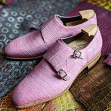 Ascot Double Monk - Soft Pink Alligator - Ascot Shoes