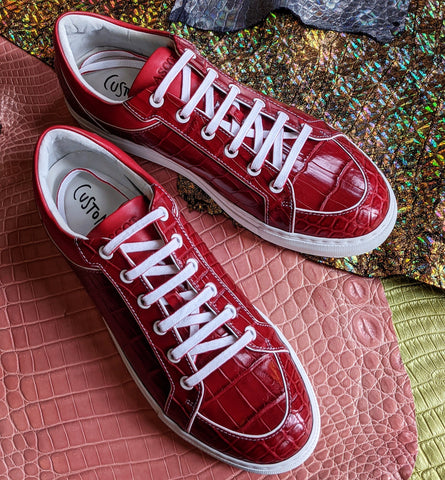 Ascot Sneakers - Ruby Red Alligator