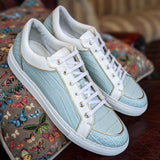 Ascot Sneakers - Light Blue Alligator - Ascot Shoes