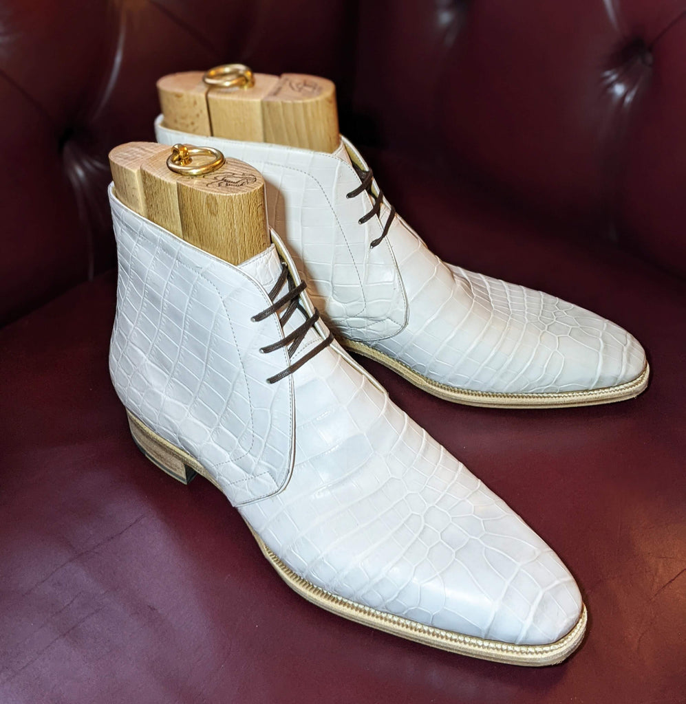 Ascot Chukka Boots - White Alligator - Ascot Shoes