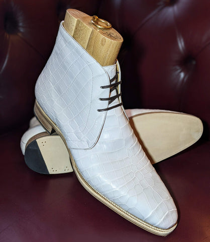 Ascot Chukka Boots - White Alligator