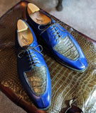 Ascot Kaan - Blue Calf & Caviar Alligator - Ascot Shoes