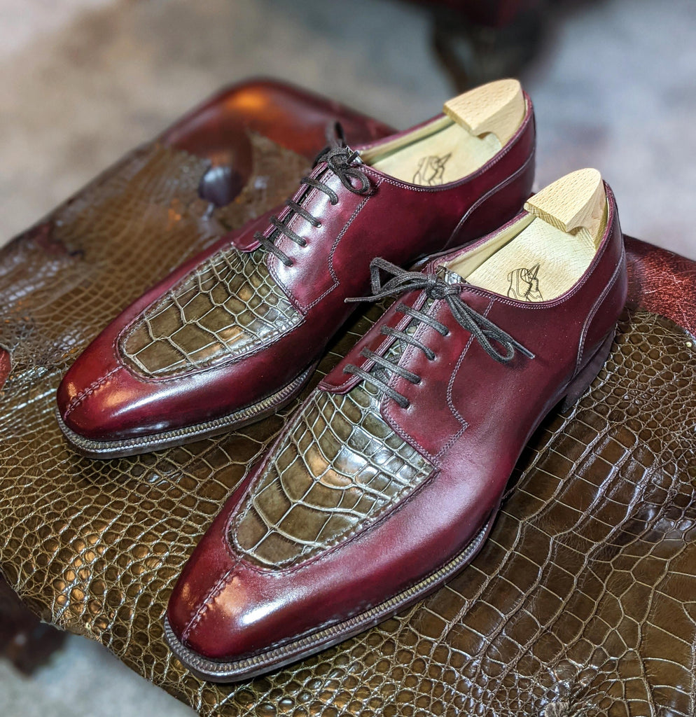 Ascot Kaan - Bordeaux Calf & Caviar Alligator - Ascot Shoes