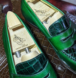 Ascot Sinatra - Green Calf & Emerald Green Crocodile - Ascot Shoes