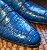 Ascot Sinatra Loafer - Jazz Blue Niloticus Crocodile - Ascot Shoes