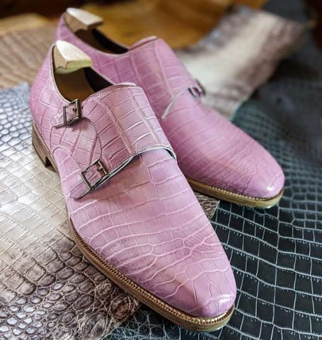 Ascot Double Monk - Soft Pink Crocodile