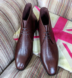 Ascot Ankle Boots - Brown Scotch Grain - Ascot Shoes