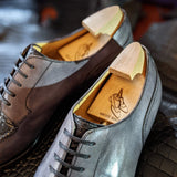 Ascot Kaan - Gunpowder Grey Calf & Grey Niloticus Crocodile - Ascot Shoes
