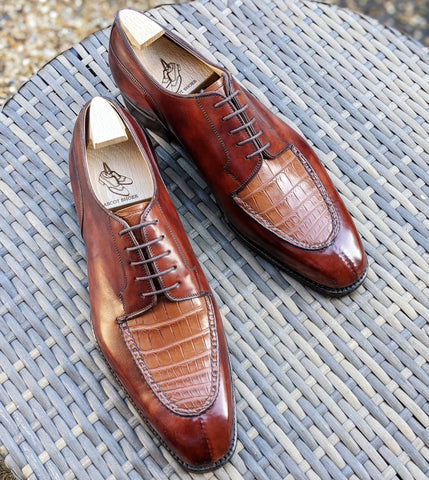 Ascot Kaan - Tan Crocodile & Cognac Calf, UK 10, U last