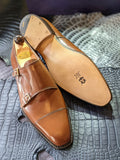 Vass Double Monk - Antique Cognac Calf, UK 11, U last - Ascot Shoes