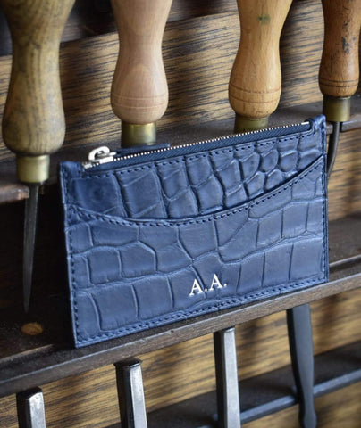 Credit Card Wallet - Navy Alligator