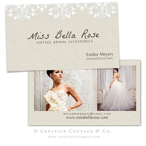 Linen Floral Lace Vintage Business Card