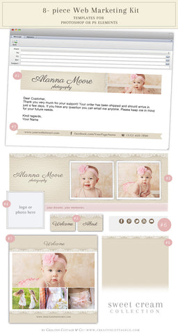 Cream Linen and Lace Facebook, Email And Social Kit
