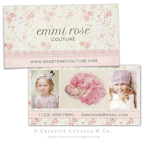 Tiny Rose Floral Vintage Business Card