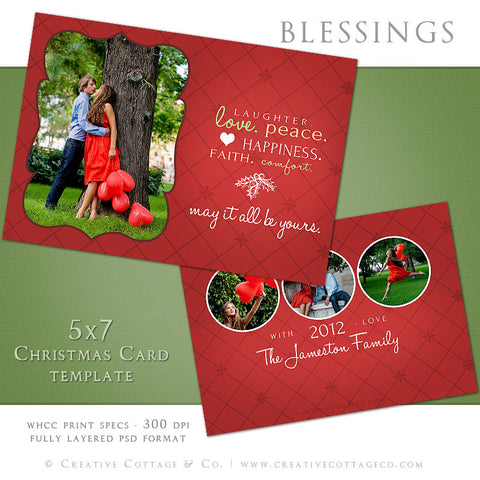 Christmas Card Template- Blessings