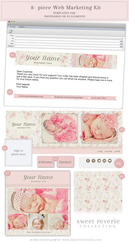 Tiny Rose Floral Vintage Facebook, Email And Social Kit