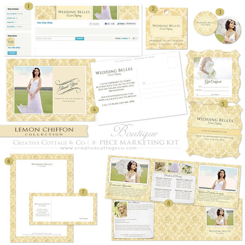 Etsy Boutique Marketing Kit- Lemon Chiffon