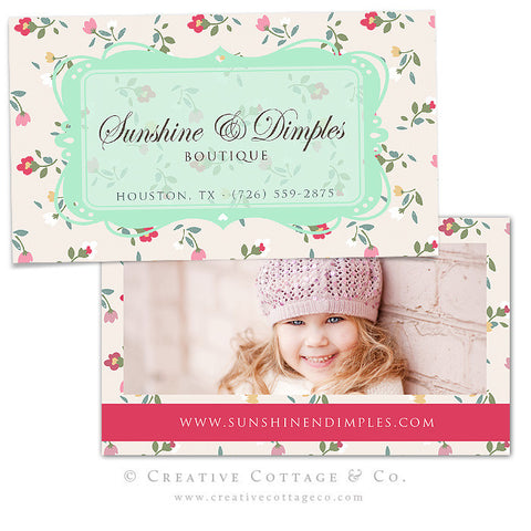 Whimsical Floral Vintage Business Card